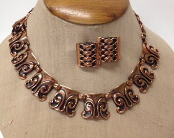 Copper Necklace and Earrings MCM Global /  Ethnic / Boho