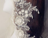 Iovry Alencon Lace Trim Luxury Pearl Beaded Sequined Lace Wedding Lace Trim Embroidered Retro Lace Bridal Lace 5.11 Inches Wide 1 Yard