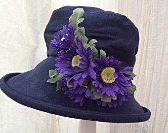 OOAK Navy Blue multi sized summer hat