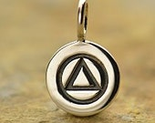 Sterling Silver Alcoholics Anonymous Charm  - 1pc (5915) 10% discounted High Quality Shiny Charms
