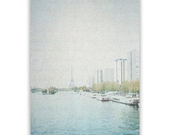 Paris Photography, Seine River, dreamy Paris decor, Paris Wall Decor, teal home decor, Eiffel Tower, modern Paris - Fine Art Photograph