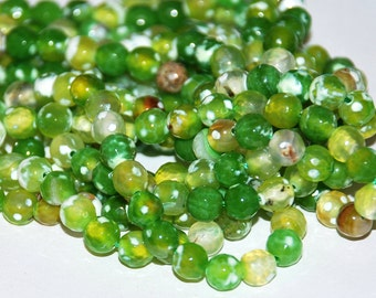 Half Strand 6mm FACETED Lime Green Crab Fire Agate Gemstone Beads - 31 beads