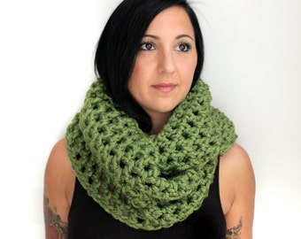 Lime Green Crochet Oversized Infinity Scarf,