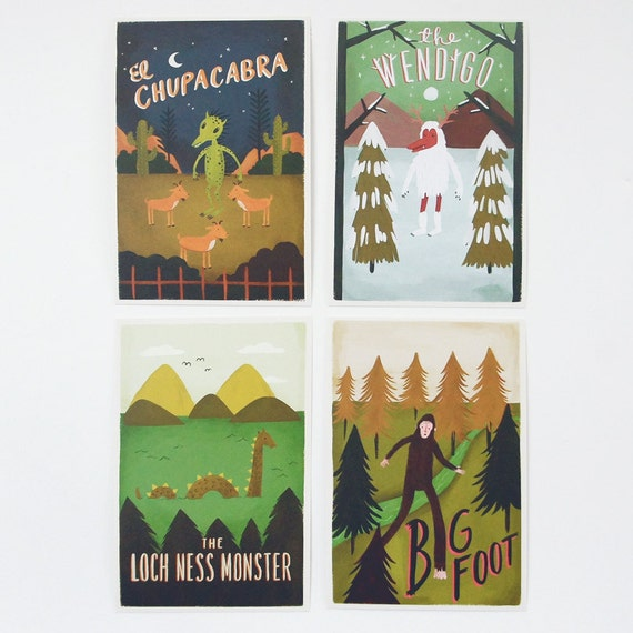 Monster Postcard Set 4pcs