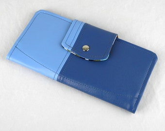 Vinyl Passport Wallet, Blue Passport Wallet, Faux Leather Passport Case