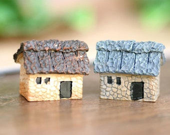 8 pcs 30x20mm  Resin  Stone House Mininature Figurine/Terrarium Figurine