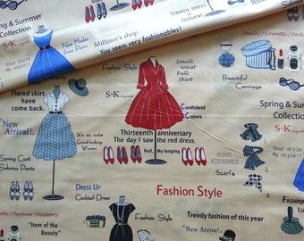 Japanese Fabric Cotton Yuwa - Suzuko Koseki - Show Window Brown - a yard