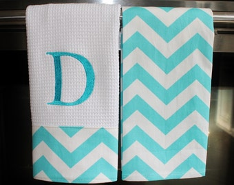 Monogrammed  Kitchen Towels or Hand Towels  in Aqua Blue Chevron | Housewarming Gift | Hostess Gift | Gifts for Her | Wedding