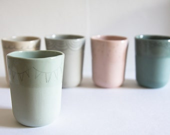 porcelain tumblers. small ceramic cups. pastel pottery. pink, green, grey, sea green, tan. simple, modern, minimalist pottery by karoArt