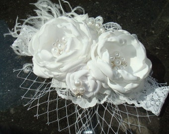 White Flower Headband, Christening, Baptism, Blessings, Baby Headband, Newborn Headband, Infant Headband