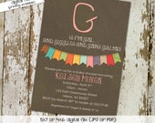 baby girl shower invitations, g is for girl with banner, digital, printable file (item 1323) baby shower invite
