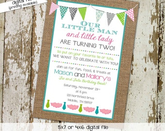 party invitations first birthday invitation bow tie tutu necktie little lady little gentleman burlap bash (item 280) shabby chic invitations