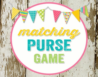 PURSE GAME card for baby or bridal shower, made to match any invitation, digital, printable file