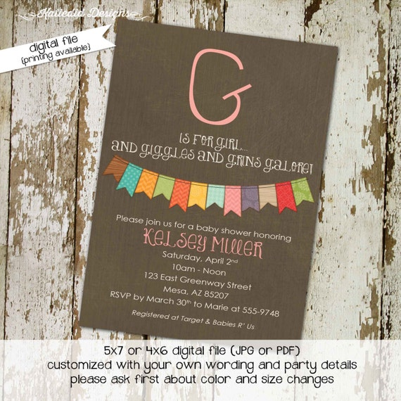 giggles galore invitation kraft paper rustic chic diaper wipe brunch bunting banner invite g is for girl it's a girl 1323 Katiedid Designs