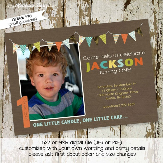 1st birthday party invitations or baby shower invitations, banner, camo, digital, printable file (item 239)