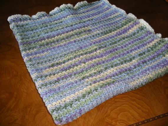 Crocheted Lap Blanket In Purple Blue Green Scottish Heather