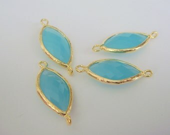 Jewelry Supplies Matte Gold Plated Silver Glass Stone Connector Mint Opal , Light Blue Stone, 2 pc, KP127881