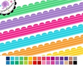 Scalloped Digital Ribbons Striped 1 - Ribbon Clip Art - Instant Download - Commercial Use