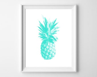 Aqua Pineapple Love - Fun and modern PRINTABLE INSTANT DOWNLOAD 8x10 Digital Art.