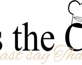 Kiss the Cook or at least say Thank You with chef hat & lips - Kitchen Vinyl Wall Art Decal, Dining Room Decor, Home Decor, Kiss, 24x7.85