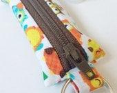 Zippered Fabric Pouch - Lip Balm Cozy, USB, Flash Drive, Headphone, Keychain - Owls