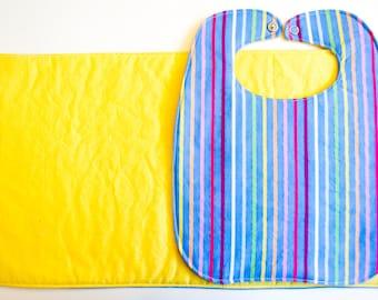 Bib and Burpie Set- Rainbow with Yellow