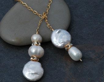 Gold Lariat Necklace, Silver Pearl Lariat, Elegant Pearl Lariat Necklace, Unique Bridal Necklace, Swarovski Crystal, Bridesmaid Necklaces