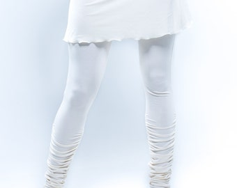 Yoga Leggings Small White with Mini Skirt Ankle-Length Ruched Long Tights