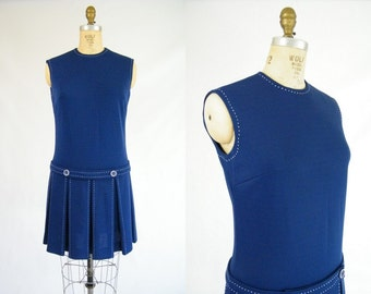 Vintage 1960s Dress / MOD Dress / Drop Waist / Pleated Skirt / Blue Dress / Medium
