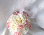 Creme rose and pink hydrangea kissing ball rose pomander wedding flower ball