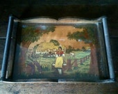 Vintage French Wood Tray with Glass Top / English Shop