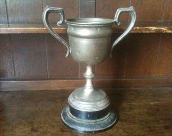 Vintage English Trophy Cup Basketball Challenge Cup with Wooden Base circa 1940's / English Shop