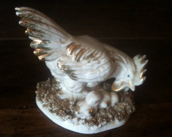 Vintage French White Ceramic Hen Mother With Chicks Ornament Figurine circa 1950-60's / English Shop
