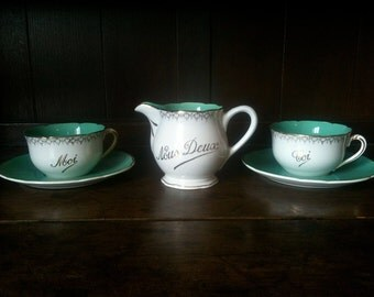 Vintage French Moi Toi Nous Deux Cafe au Lait Set Mint Sage Green Tea Coffee circa 1950's / English Shop