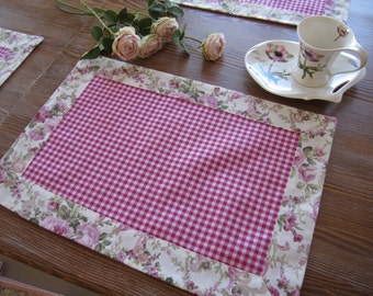 4 pcs Pink gingham Placemat fuchsia pink checkered pink floral border trimmed, Duck Linen-shabby chic table decor, tablecloth decor