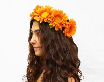 Orange Daisy Headband. EDC, Flower Crown, Large Daisy Crown, Orange Flower Crown, Orange, Daisies, Sunflower Crown, Hippie Headband, Boho