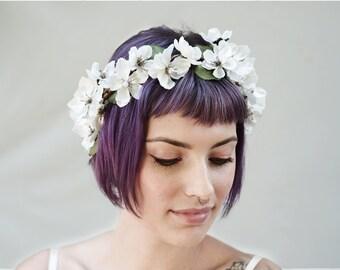 Cherry Blossom, Flower Crown - Bridal Flower Crown, Floral Crown, Bridal Headpiece, Bridal Accessory, Floral Headpiece, Ivory & Pearl, Boho