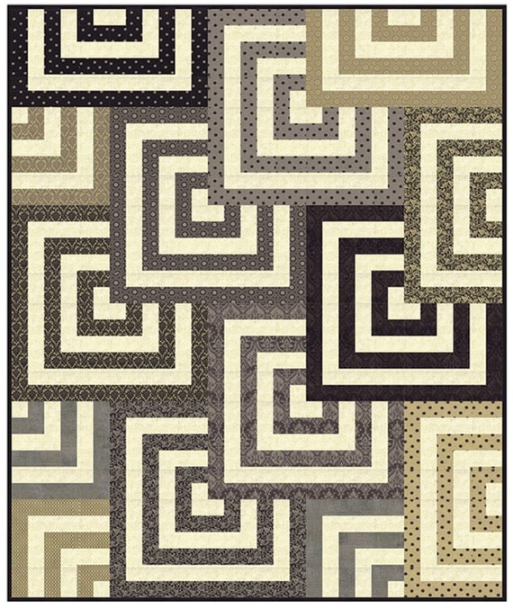 Mesmerize Quilt Kit by BasicGrey with Cream Grunge as Background fabric