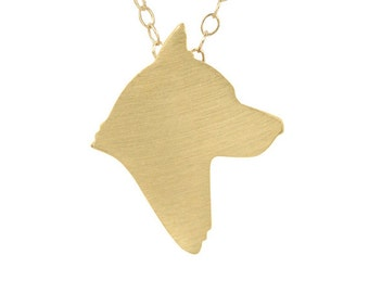 Husky necklace, Husky charm, Husky jewelry, Husky silhouette - Solid 14k Yellow Gold dog necklace, dog charm pet memorial gift