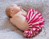 Fuchsia and White Stripe Diaper Cover Ruffle Bloomer Baby Bloomer Nappie Panty for Valentines Day