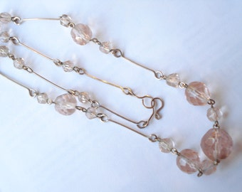 Art Deco Necklace Deco Pink Glass Beads 1920's 1930's