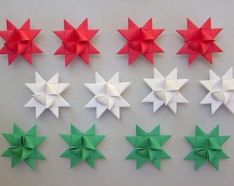 Moravian Stars (12): Red, White, & Green Mix, 2 inches