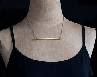 brass cylinder bar necklace