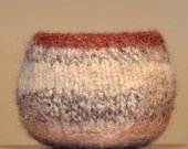 "Fiber Art Bowl - hand felted and hand formed Native American style bowl, crocheted Nova Scotia natural wool.5"" in diameter and 3"" high."