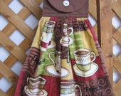 Coffee Kitchen Tea Towel Hanging Kitchen Towel with Coffee Cups Coffee Tea Towel