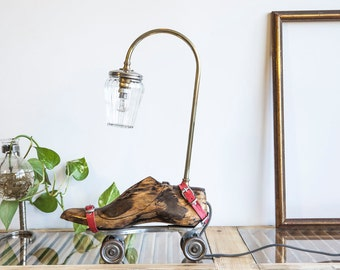 Vintage Lighting, Table Lamp handmade of Roller Skates, Mason jar light & Wood Shoemakers Last, OOAK, Cool steampunk lamp by StudiORYX