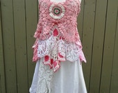 RESERVED for Megan Pink and White Crochet Top Altered Couture Magnolia Boho Prairie OOAK Tattered