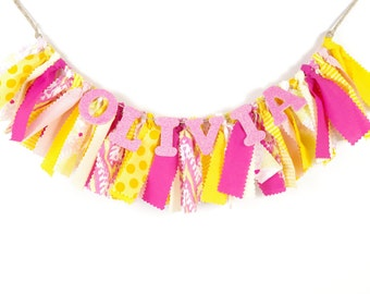 Pink Lemonade Girl's Birthday Party - Rag Banner - Photography Prop