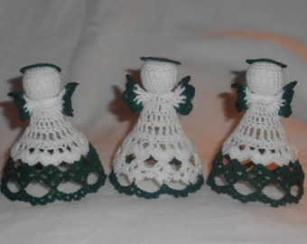 Three Green and White Crochet Angels #2 - FREE SHIPPING to US and Canada