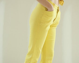 Vintage 1960s Pedal Pusher Neon Yellow Pants